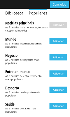 Categoria no Google Currents
